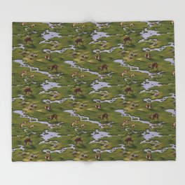 Vicuñas and Flamingoes Throw Blanket