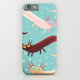 pattern Cute orange pink brown Axolotl Cartoon character on blue background in the aquarium iPhone Case