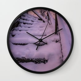 Snow covered Stairway to Heaven Wall Clock