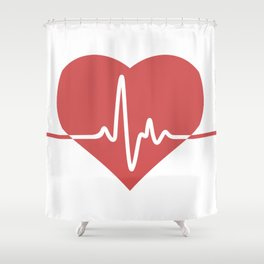 Heart with Cardiogram Shower Curtain