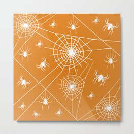 Spooky Halloween Spiders and Webs~ Orange Background Metal Print