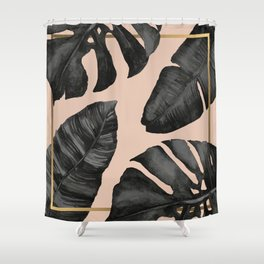 Classic Tropical Palm Leaves Powder Pink and Gold Shower Curtain