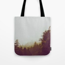 Olive Green Sepia Misty Pine Forest Landscape Photography Parallax Trees Tote Bag