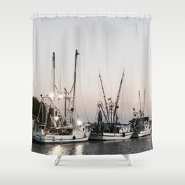 Fishing Boats on the Water at Sunset Shower Curtain