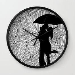 Man and Lady with Umbrella Silhouette  Wall Clock