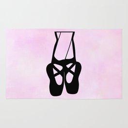 Black Ballet Shoes En Pointe Silhouette on Pink Rug