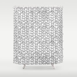 Knitting Knit Pattern - Doodle - Black and White Ink Shower Curtain