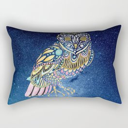 Galaxy Owl Illustration Rectangular Pillow