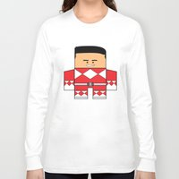 power rangers Long Sleeve T-shirts featuring Mighty Morphin Power Rangers - The Original Red Ranger Unmasked (Jason) by Choo Koon Designs