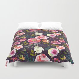 Floral watercolor chalk print pink peonies Duvet Cover