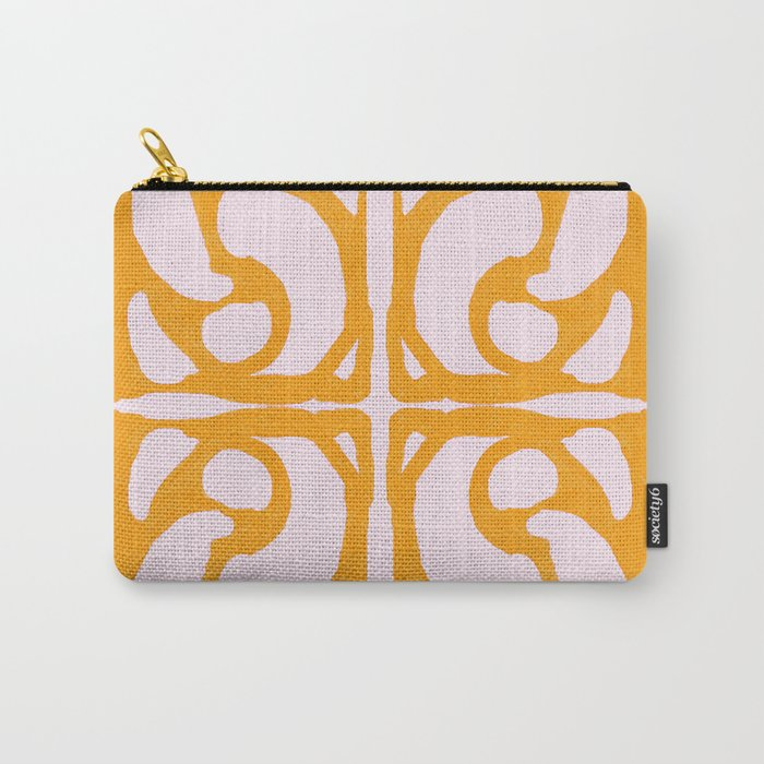 Abstract in Yellow and Cream Carry-All Pouch