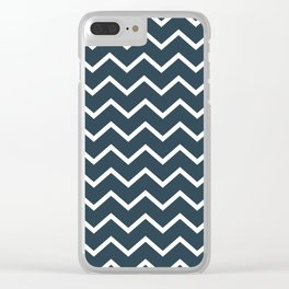 Navy and white zig zag Clear iPhone Case