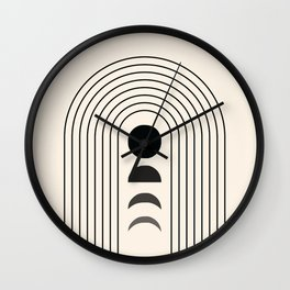 Geometric Lines in Black and Beige 13 (Rainbow and Moon Phases) Wall Clock