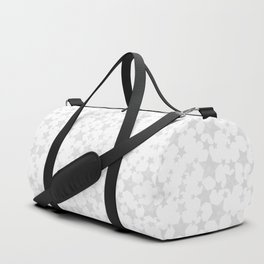 Block Print Silver-Gray and White Stars Pattern Duffle Bag