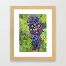 Grapes Watercolor Fruit Food Wine Lovers Framed Art Print