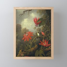 Hummingbird and Passionflowers by Martin Johnson Heade, 1875 Framed Mini Art Print