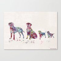 labrador Canvas Prints featuring Labrador family by Watercolorist