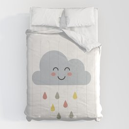 cute cloud with rain for kids Comforters