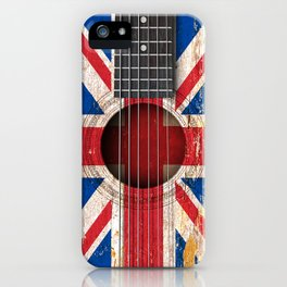 Old Vintage Acoustic Guitar with Union Jack British Flag iPhone Case