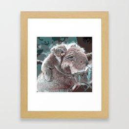 Toony Mum and Baby Koala Framed Art Print