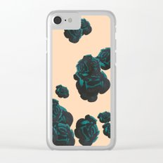Green and Black Roses on Peach, Greenery Clear iPhone Case