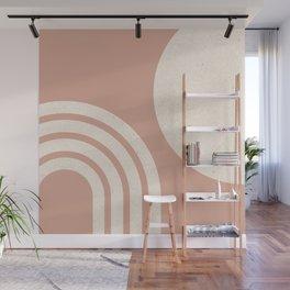 Mid Century Modern Dust Pink Sun & Rainbow Wall Mural
