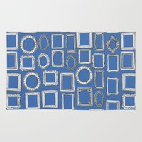 frames Area & Throw Rugs featuring picture frames blue by Sharon Turner