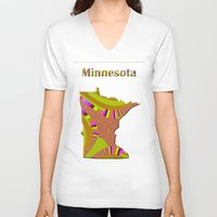 minnesota V-neck T-shirts featuring Minnesota Map by Roger Wedegis