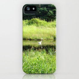 NATURE UNTOUCHED - HERON IN THE MARSH iPhone Case