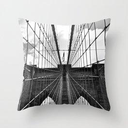 Brooklyn Bridge Old School Throw Pillow