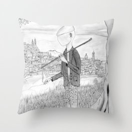 Tramp in search of identity Throw Pillow