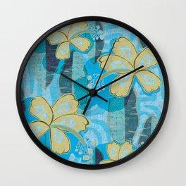vintage Hawaiian Hibiscus Print Wall Clock