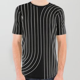 Minimal Line Curvature - Black and White II All Over Graphic Tee