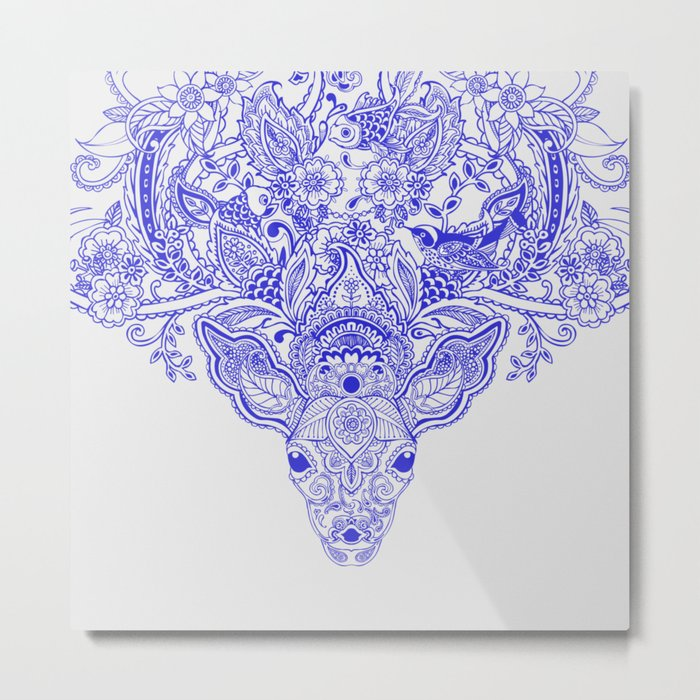 Little Blue Deer Metal Print