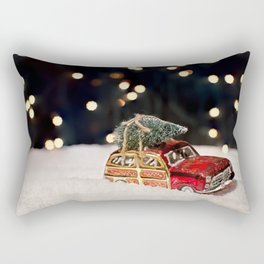 Christmas Car Ornament with a Tree on top in the Snow Rectangular Pillow