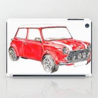 mini cooper iPad Cases featuring Red Mini Cooper by Meg Ashford