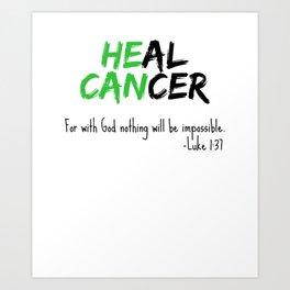 Liver Cancer graphic Awareness Green Bible Verse Heal Green Christian Art Print