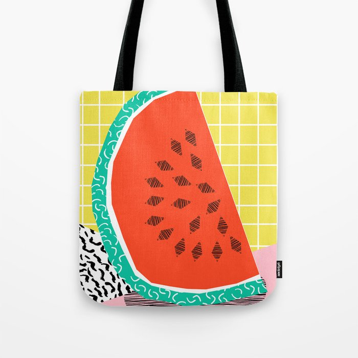 Dyno - watermelon throwback memphis 1980's retro style dots grid bright colorful modern hipster art Tote Bag