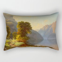 George Caleb Bingham A View of a Lake in the Mountains 1859 Rectangular Pillow