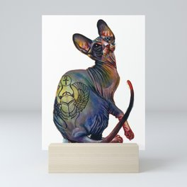 Tattooed sphynx cat Mini Art Print
