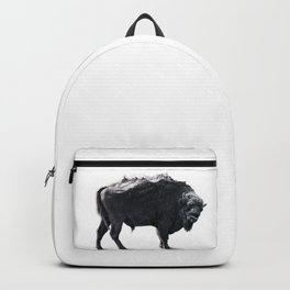 Bison Mountain Black and white art Backpack