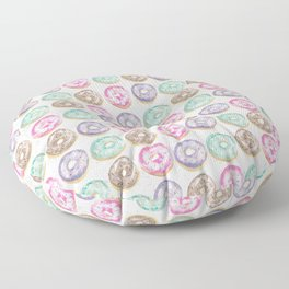 Watercolor Pastel donuts with a marble texture background Floor Pillow