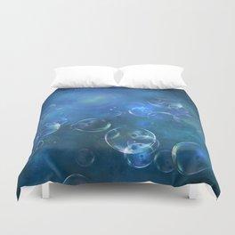 floating bubbles blue watercolor space background Duvet Cover