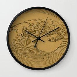 Vintage Golden Wave Wall Clock