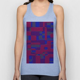 offset puzzle rounded graphic squares in a red and blue colour set Unisex Tank Top