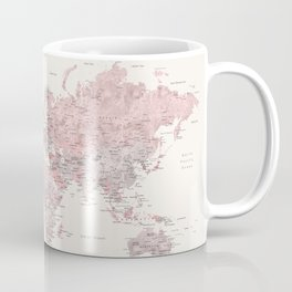 """Nude, dusty pink and grey world map with cities, No small dreams, """"Kaia"""" Coffee Mug"""