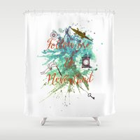 neverland Shower Curtains featuring Follow me to Neverland by Sybille Sterk