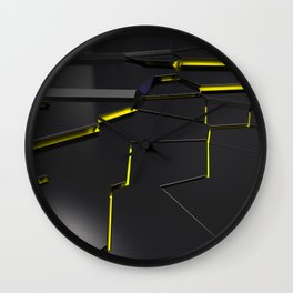 Black fractured surface with yellow glowing lines Wall Clock