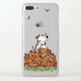 Saunders in Leaves Clear iPhone Case