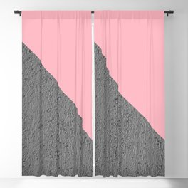 Geometrical Color Block Diagonal Concrete vs Pink Blackout Curtain